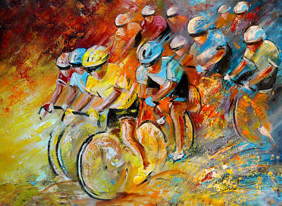 Sports Paintings - Winning The Tour De France by Miki De Goodaboom