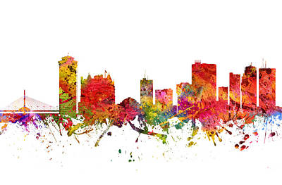 Rainbow Colors Digital Art - Winnipeg Cityscape 08 by Aged Pixel