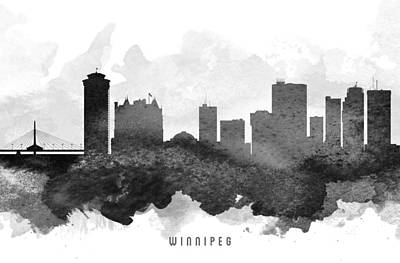 Winnipeg Painting - Winnipeg Cityscape 11 by Aged Pixel