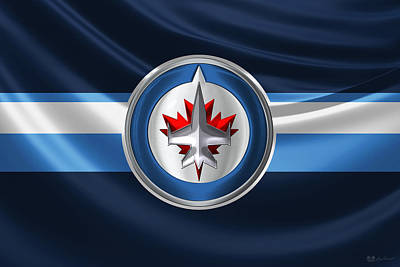 Digital Art - Winnipeg Jets - 3 D Badge Over Silk Flag by Serge Averbukh