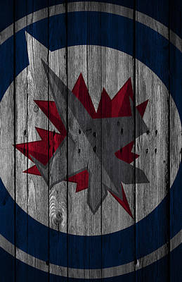 Digital Art - Winnipeg Jets Wood Fence by Joe Hamilton