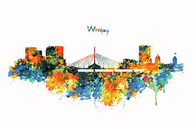 Winnipeg Mixed Media - Winnipeg Skyline by Marian Voicu