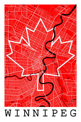 Flag Digital Art - Winnipeg Street Map - Winnipeg Canada Road Map Art On Canada Flag Symbols by Jurq Studio