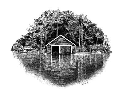 Drawing - Winnipesaukee Boathouse by Scott Woyak