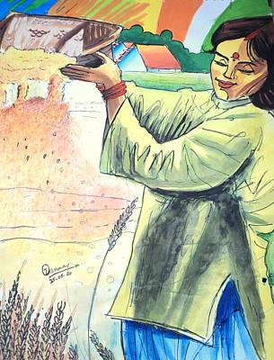 Winnowing With Smile Art Print by Tanmay Singh