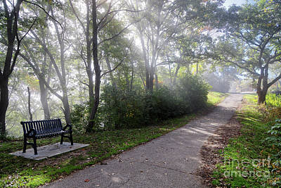 Photograph - Winona Minnesota Foggy Path With Bench Photograph by Kari Yearous