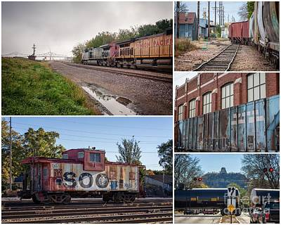 Photograph - Winona Minnesota Trains Collage 8x10 by Kari Yearous