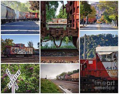 Photograph - Winona Mn Trains Collage 2 by Kari Yearous