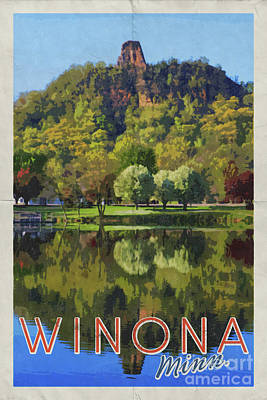 Photograph - Winona Mn Vintage Style Poster By Yearous by Kari Yearous