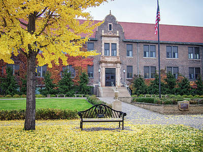 Photograph - Winona State University Phelps Hall With Bench by Kari Yearous