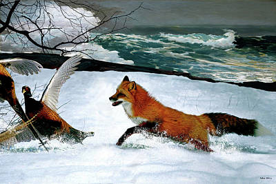 Red Fox Mixed Media - Winslow Homer's, 1893 ' The Fox Hunt ', Revisited 2016 by Thomas Pollart