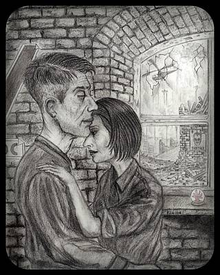 Grime Drawing - Winston And Julia by Philip Harvey
