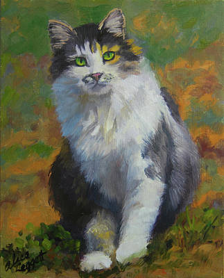 Painting - Winston Cat Portrait by Alice Leggett