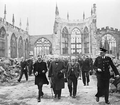 Destruction Photograph - Winston Churchill 1874-1965, Walks by Everett