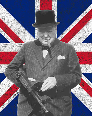 Winston Churchill And Flag Print by War Is Hell Store