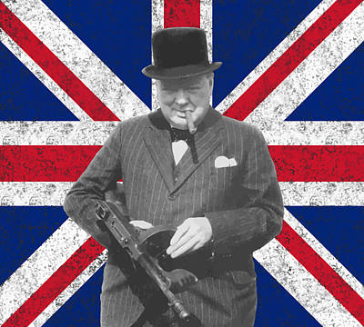 World War Two Painting - Winston Churchill And His Flag by War Is Hell Store