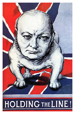 English Bulldog Painting - Winston Churchill Holding The Line by War Is Hell Store