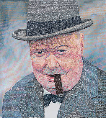 Painting - Winston Churchill In His Own Words by Phil Vance