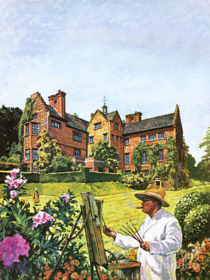 Manor Wall Art - Painting - Winston Churchill Painting At Chartwell by Harry Green