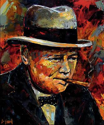 Wall Art - Painting - Winston Churchill Portrait by Debra Hurd