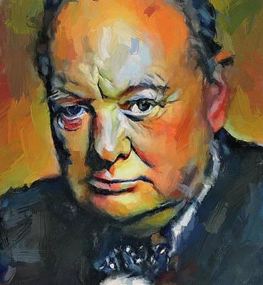 Digital Art - Winston Churchill Portrait Impress by Yury Malkov