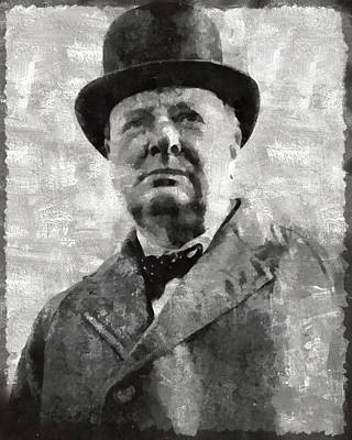 Churchill Painting - Winston Churchill Prime Minister Of Great Britain by Mary Bassett