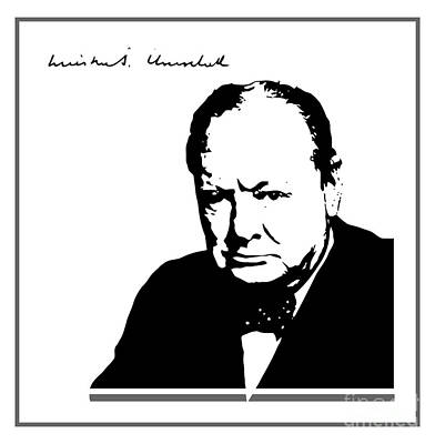 Winston Churchill Silhouette Signature Art Print by Heidi De Leeuw