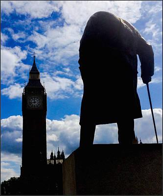 Big Ben Mixed Media - Winston Churchill Statue Overlooks Big Ben by Suggestive Moods