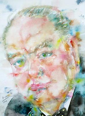 Painting - Winston Churchill - Watercolor Portrait.4 by Fabrizio Cassetta