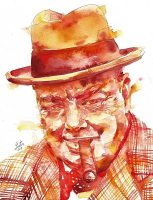 Painting - Winston Churchill - Watercolor Portrait.5 by Fabrizio Cassetta