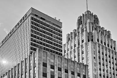 Photograph - Winston Tower And Reynolds Building Bw by Patrick M Lynch