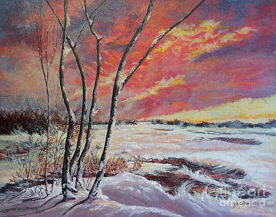 Painting - Winter Across The Lake  by Gail Allen