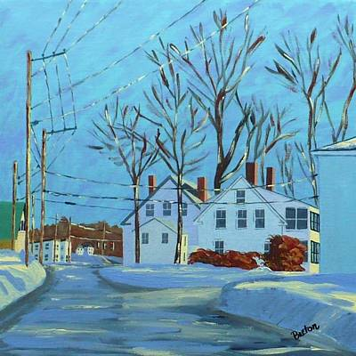 Maine Landscape Painting - Winter Afternoon Bridge Street by Laurie Breton