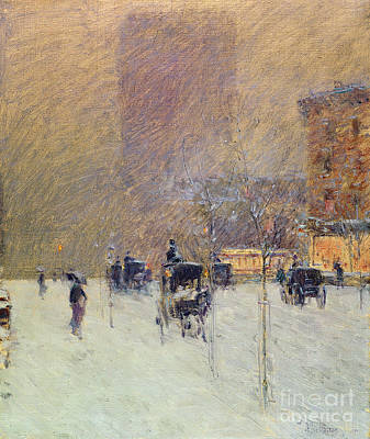 Coach Horses Painting - Winter Afternoon In New York by Childe Hassam