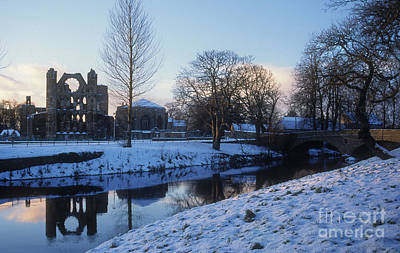Photograph - Winter - River Lossie And Elgin Cathedral by Phil Banks