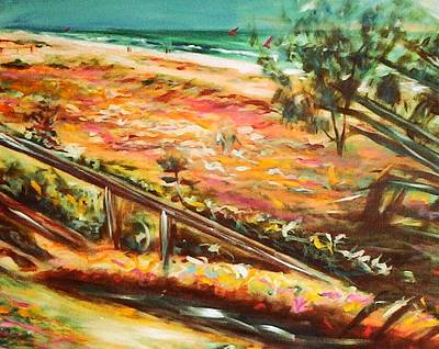Painting - Winter Afternoon Surfers by Winsome Gunning