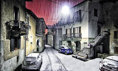 Street Lamps Digital Art - Winter Alley by Cco