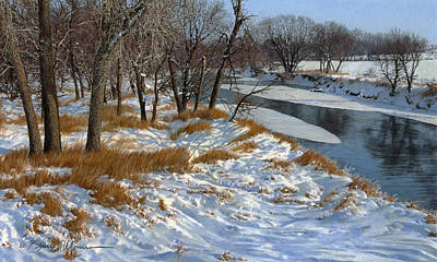 Snowscape Drawing - Winter Along The Little Sioux by Bruce Morrison