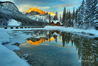 Photograph - Winter Alpenglow At Emerald Lake by Adam Jewell