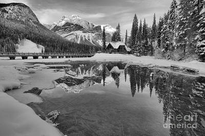 Photograph - Winter Alpenglow At Emerald Lake Black And White by Adam Jewell