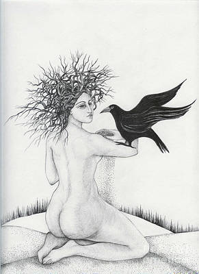 Art Print featuring the drawing Winter by Anna  Duyunova