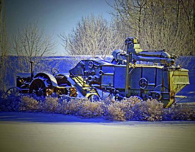 Winter Antique Tractor And Combine Art Print
