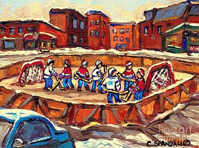 Painting - Winter Fun At The Local Hockey Rink Verdun Montreal Paintings Best Canadian Art Snow Scene C Spandau by Carole Spandau