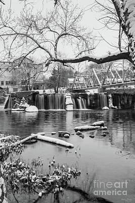 Photograph - Winter At Finley Dam Grayscale by Jennifer White