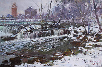 Eve Wall Art - Painting - Winter At Goat Island by Ylli Haruni