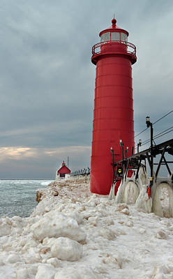Art Print featuring the photograph Winter At Grand Haven Lighthouse by Susan Rissi Tregoning