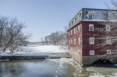 Winter At Kingston Mill Print by Bill Cannon