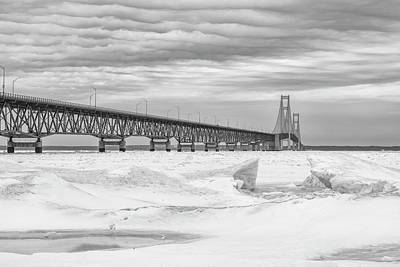 Print featuring the photograph Winter At Mackinac Bridge by John McGraw