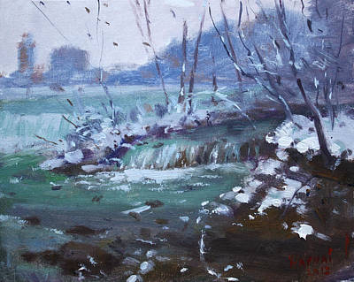 Fall Snow Wall Art - Painting - Winter At Niagara River by Ylli Haruni