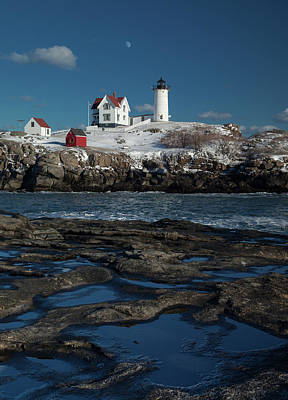 Winter At Nubble Lighthouse Art Print